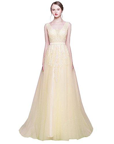 Erosebridal Lang Abendkleider für Hochzeit Elegantes Brautjungfernkleid Champagner DE38