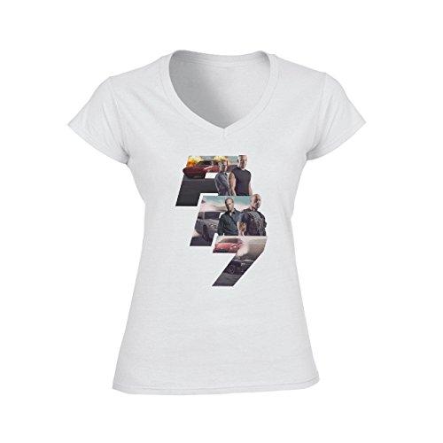 Fast And Furious 7 Design Large Damen V-Neck T-Shirt