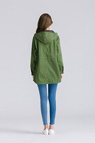 NiSeng Veste Trench Coat à capuche À pois Manteau Hoodie Long Parka Automne Chaude pour femme Vert