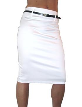 ICE (2347) Stretch Satén Falda tubo + cinturón - Color: Blanco