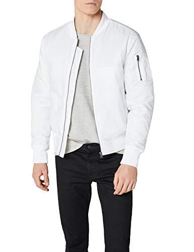 Urban Classics TB861 Herren Jacke - Basic Bomber Jacket, Bomberjacke mit aufgesetzter Tasche und Zipper am Arm, Weiß (white 220), Gr. XX-Large Classic Nylon Reißverschluss