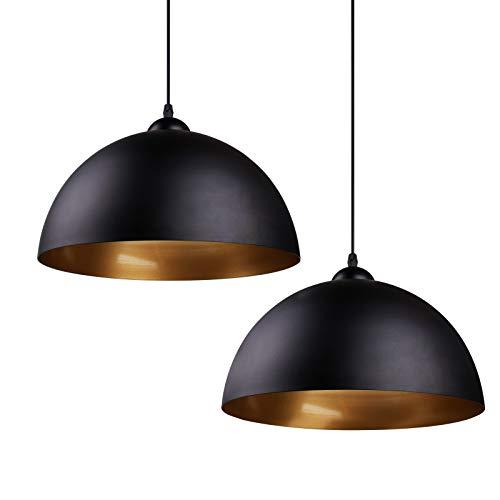 Design 2x Industrielle Vintage LED Pendelleuchte Hängeleuchte Φ 30cm für E27 Leuchtmittel, für Wohnzimmer Esszimmer Restaurant Keller Untergeschoss usw. (Schwarz)