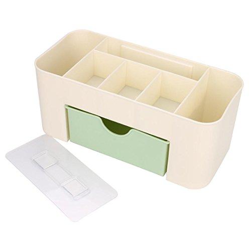 Reaso Boîte de Maquillage Organiseur de Rangement Cosmétique Beauty Case Beauté Make Up Sac Cas Pinceaux à outils Organisateur Boîte Espace de Rangement (Vert, 26*12*11 cm)