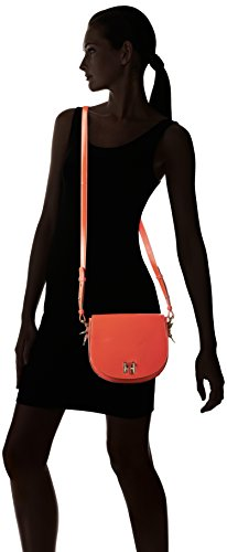 Tommy Hilfiger - Th Twist Leather Medium Crossover, Borse a tracolla Donna Rosso (Fiery Red)