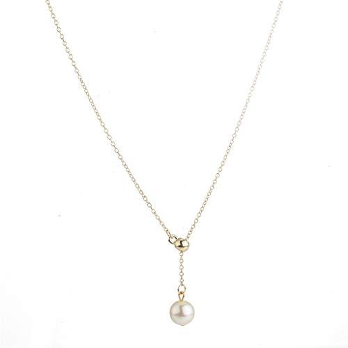 EUCoo Mode HalskettevtäGliche SchlüSselbein-Kette Mode-Accessoires LäNgliche Perlenkette Liebhaber Geschenk(Gold,konventionell)