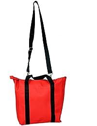Kuber Industries™ Canvas Stylish Sling Bag, Picnic Bag, Shopping Bag, Handbag (Red) - KI19459