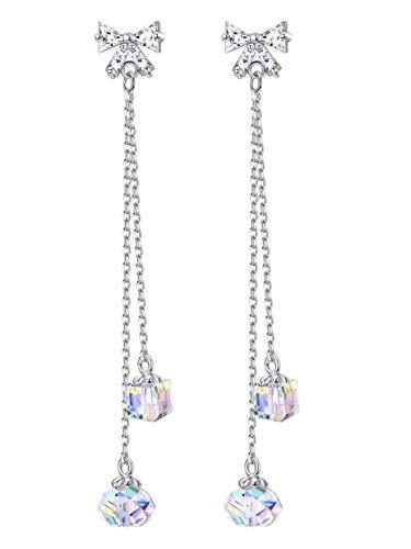 Sllaiss 925 Sterline d'argento Orecchini con Cristalli da Swarovski per Donne Ragazze Fascino Scintillante Drop Dangle Orecchini Regalo della Mamma