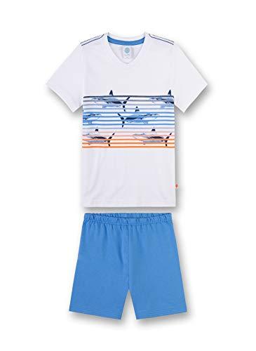 Weiße Kinder-schlafanzug (Sanetta Jungen Shirt Zweiteiliger Schlafanzug, Weiß (White 10), 92 (Herstellergröße: 092))