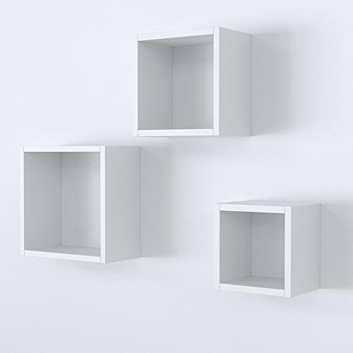 Vicco Wandregal 3er Set - 3 Größen Deko Würfelregal Holz Hängeregal Cube Büroregal CD Buch Sonoma Eiche (Weiß)