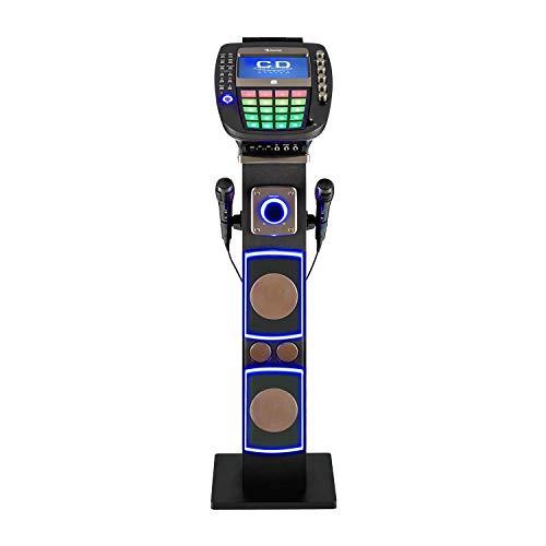 """auna KaraBig Torre de Karaoke • Juego de Karaoke • Display TFT 7\"""" a Color • Reproductor CD+G • Interfaz Bluetooth • USB • Salida de Audio y vídeo • Efectos de luz LED • 2 Micrófonos dinámicos • Gris"""