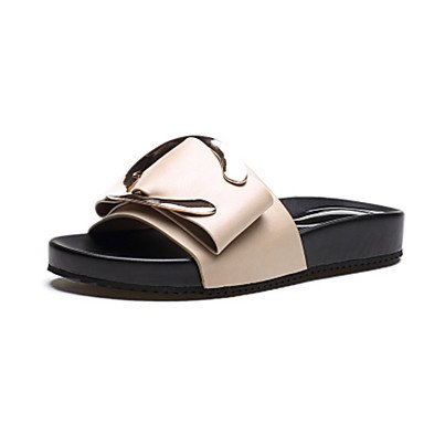 zhENfu Womens Sandals Comfort PU Summer Casual Flat Heel Beige Black Flat Beige