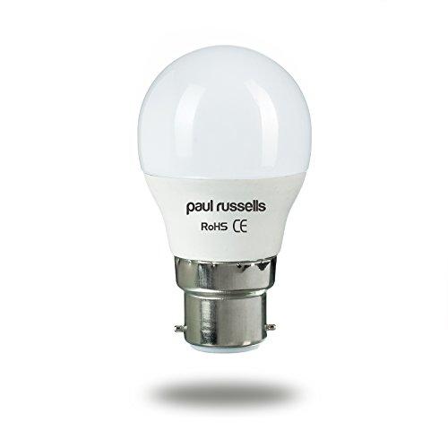Golfball-LED-Glühlampen, 3Stück, 3W, B22BC, Bajonettsockel von Paul Russel, 3W = 25W, G45, kleine Kugelform, 270Grad-Abstrahlwinkel, 2700K, Warmweiß, 25W, Ersatz -