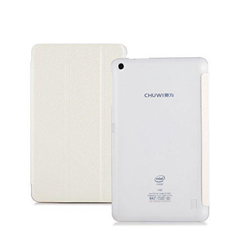 CHUWI Hi8 Pro / Vi8 Plus case, KuGi ® CHUWI Hi8 Pro / Vi8 Plus case - Multi-Angle Stand Slim-Book PU Leather Cover Case for CHUWI Hi8 Pro / Vi8 Plus tablet.(White)