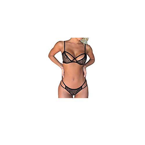 Patifia Damen Sexy Lingerie, Frauen Mode Spitze Bowknot Dessous Babydoll Dress Nachtwäsche Versuchung Erotic Bustier Teddy Halter Schritt Strapse Set Spitze BH Slip Unterwäsche Bodysuit - Leder-unterwäsche-set