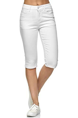 Damen Capri Jeans 3/4 Stretch Bermuda Shorts Big Size Hose, Farben:Weiß, Größe Damen:44 / XXL - Weiße Stretch-capris