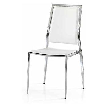 Set da 4 sedie con seduta e schienale in ecopelle bianca, stile ...