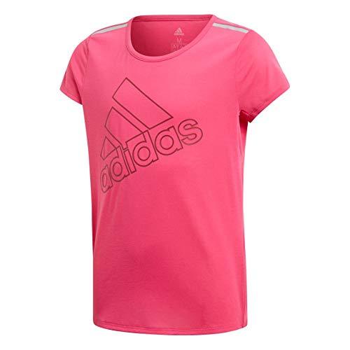 adidas Mädchen Training Brand Kurzarm T-Shirt, Real Magenta/Noble Maroon, 140 -