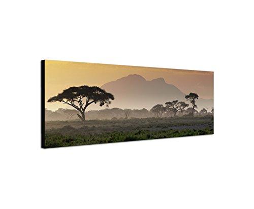 Wandbild auf Leinwand als Panorama in 120x40 cm Afrika bei Sonnenuntergang! Afrikanische Savanne mit Baum und Berge.Serengeti mit Graslandschaft.