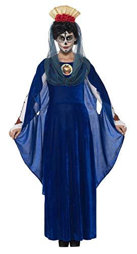 Smiffys 44934M - Damen Tag der Toten Heilige Maria Kostüm, Größe: 40-42, blau Preisvergleich
