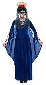 Smiffys Disfraz de Virgen del día de Muertos, Azul, con Vestido, Diadema y Capucha