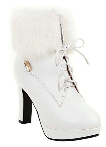 5508004fec3885 YE Damen Blockabsatz Stiefeletten High Heels Plateau mit Schnürung und Fell  9cm Absatz Elegant Boots Party