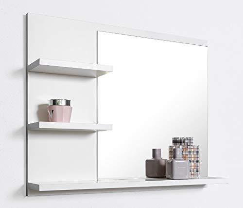 DOMTECH Badspiegel mit Ablagen, Weiß Badezimmer Spiegel, Wandspiegel, Badezimmerspiegel, L