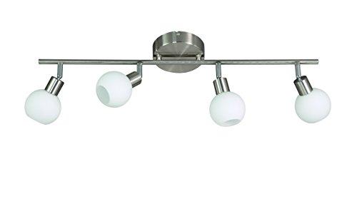 Action Deckenbalken, 4-flammig, Serie Nois, 4 x LED, 5 W, 6-6 V, Höhe 19.5 cm, Tiefe 80 cm, Kelvin 3000, Lumen 400, nickel matt 907104640000 Serie 4x6