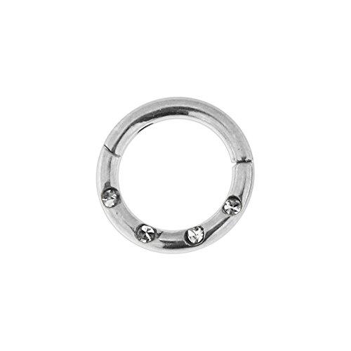 16 Gauge - Durchmesser von 6MM Chirurgenstahl 4 Kristall Steinen gepflasterten klappbaren Segment Nase Ring Septum Piercing
