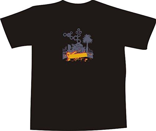 T-Shirt E439 Schönes T-Shirt mit farbigem Brustaufdruck - Logo / Grafik - minimalistisches Design - Skyline mit Palme und Zahnrädern als Verzierung Mehrfarbig