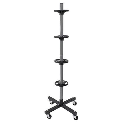ECD Germany Felgenbaum 225mm mit 4 Rollen Max. Belastbarkeit bis 100kg, LxBXH: 45 x 45 x 116 cm Alu Reifenhalter Felgenständer Reifenständer