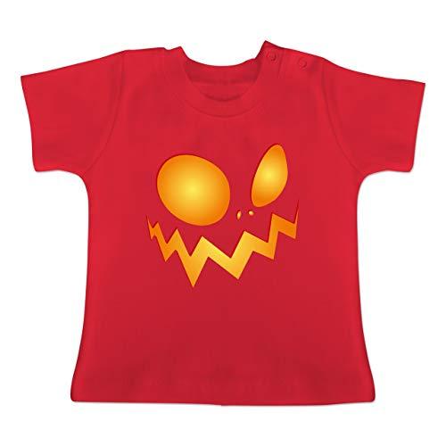 Anlässe Baby - Kürbisgesicht groß Pumpkin - 1-3 Monate - Rot - BZ02 - Baby T-Shirt Kurzarm (Zu Pet-kostüm-ideen Halloween)