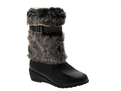 NEW GIRLS KIDS MID CALF LOW WEDGE HEEL FAUX LEATHER FUR TRIM...