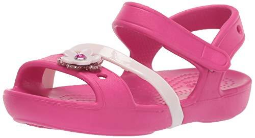 Crocs lina charm sandal k, punta aperta unisex-bambini, rosa (candy pink 6x0), 25/26 eu