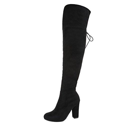 Overknee Stiefel Damen Schuhe Klassischer Stiefel Pump Moderne Reißverschluss Ital-Design Stiefel Schwarz, Gr 38, 054-Gg- (Overknee Stiefel Hohe)