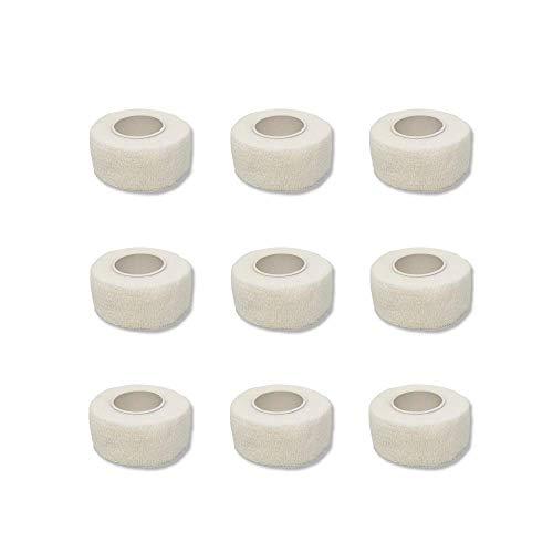 9er-Set Fingerverband   Pflasterverband   Pflaster ohne Kleber - Farbauswahl - 2,5cm x 4,5m - elastisch, wasserabweisend, kohäsiv (Weiß) -