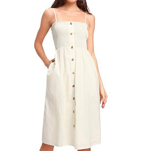 CUTUDE Damen Kleider Röcke Kurzarm Sommerkleider Mode Button Frauen Schulterfrei Lace Up Ärmelloses Sling Urlaubsstil Kleid (Weiß, ()