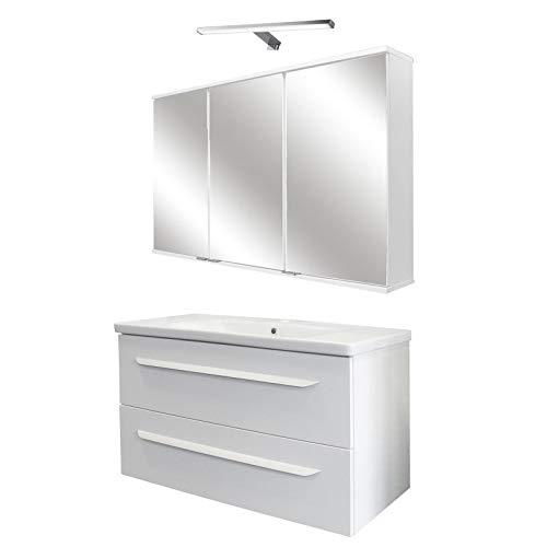 FACKELMANN weisses Badmöbel Set Hochglanz Waschbecken hängend & LED Spiegelschrank 100 cm 4 teilig