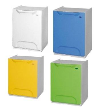 Pattumiera/cassonetto 4 moduli componibili per raccolta differenziata ecologico color