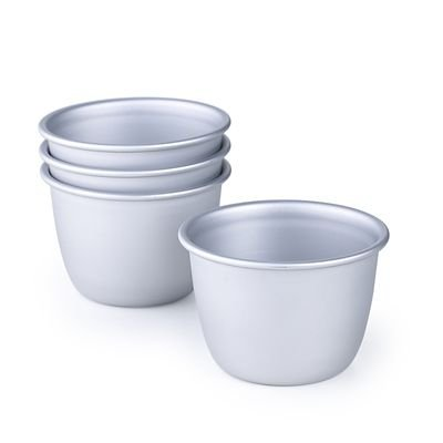 Mini Pudding Basins, Aluminium - Set of 4 Individual Tins