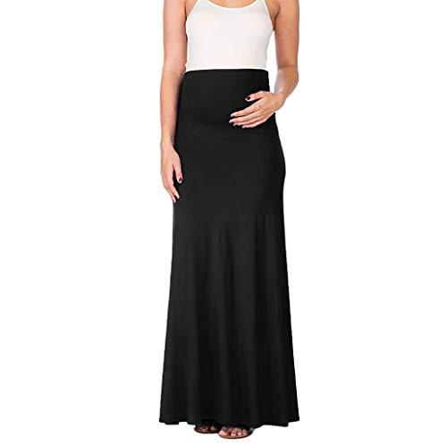 Muamaly Umstands Röcke, Mutterschaft Schwangerschaft Komfort Hoch Tailliert Bauchkontrolle Einfarbig Rock (Schwarz, XXXXL) (Rock Maxi Mutterschaft)