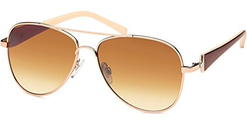 UVprotect® Damen Aviator style Sonnenbrille metall Rahmen gold braun W21-4