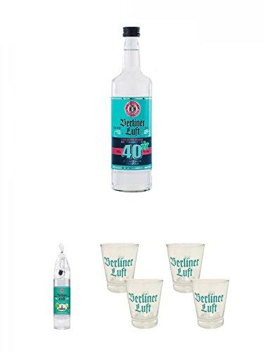 Berliner Luft Strong Extra Starker Pfefferminzlikör 40% 0,7 Liter + Berliner Luft Magnum Flasche Das Original 3,0 Liter + Berliner Luft Shot Glas 4cl 2 Stück + Berliner Luft Shot Glas 4cl 2 Stück - Luft Glas