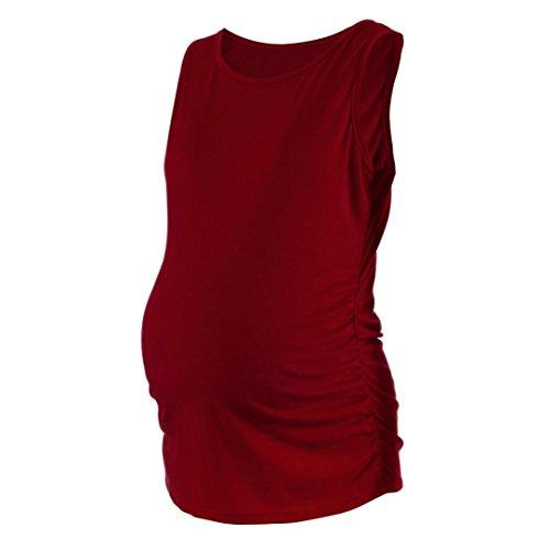 Damen Tank Tops, MOIKA Womens Mutterschaft Klassische Seite Geraffte Tops Schwangerschaft Kleidung Tank Tops Bluse (M, Rot) (Geraffte Satin-kleid)