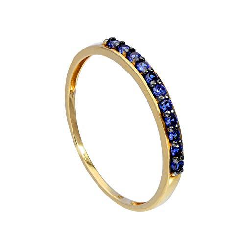 JewelleryBox 9 Karat (375) Gold & Saphir Ring 48 (Erhältlich 48-63) (Saphir-gold-ring)