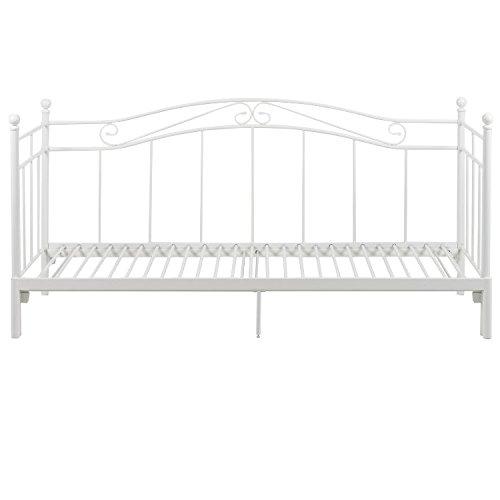 PKline Metallbett BANE in weiß mit Auszug Bett Jugendbett Tagesbett Landhaus
