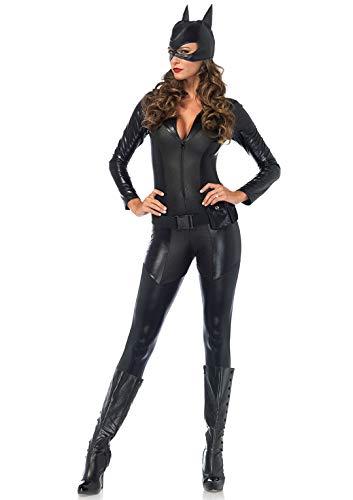 Erwachsenen Kostüm Schwarzen Für Catsuit - LEG AVENUE 85554 - Kostüm Set Captivating Crime, S, schwarz