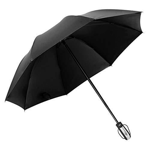 DORRISO Apri automaticamente Chiudi Ombrello Donne Uomini Pieghevole Ombrellone 210T ad alta densità Leggero Portatile Compatto Manico Impermeabile Anti-UV Viaggio Ombrello Nero B
