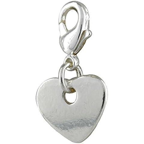 Tendine-Ciondolo a forma di cuore placcato argento, con chiusura a gancio