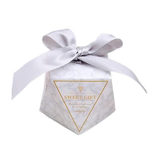 JZK 50 Diamant Form Süßigkeiten Schachtel mit bändern Papier, Gastgeschenk Schokolade Box für Hochzeit Geburtstag Babyparty Garten Party
