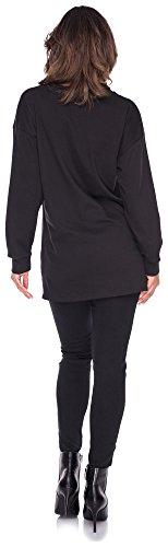 Longsleeve Shirt Damen Sweater Stripes Sweatshirt Streifen Pulli T-Shirt Top Oberteil Oucci Logo Schwarz
